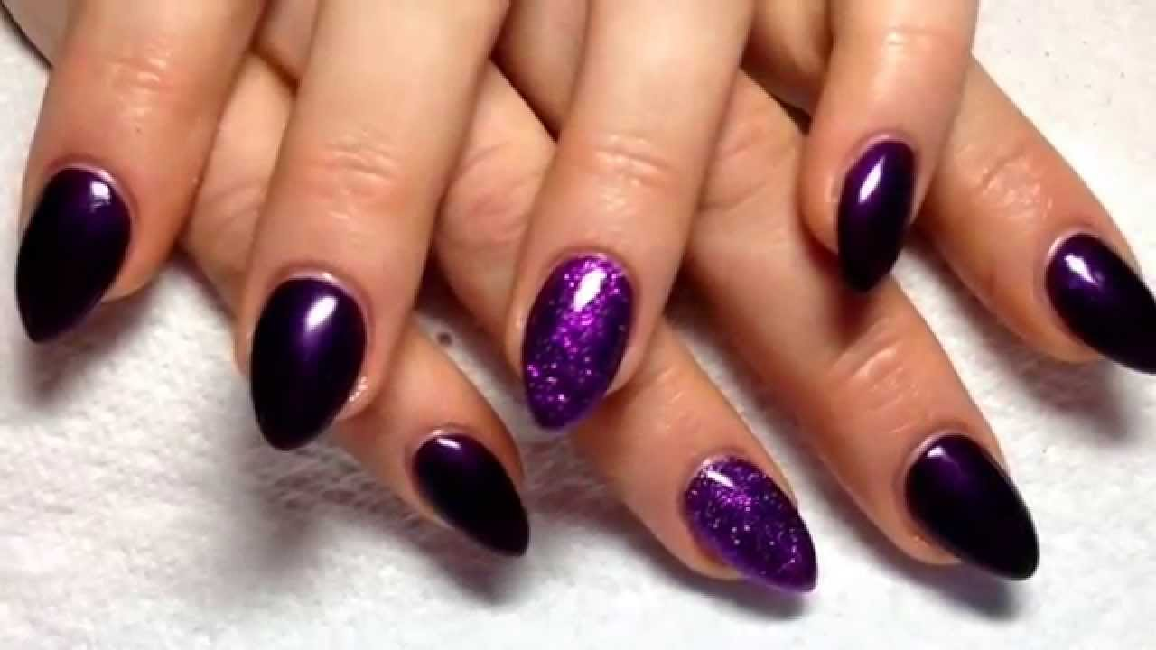 Purple acrylic nails with glitter - YouTube