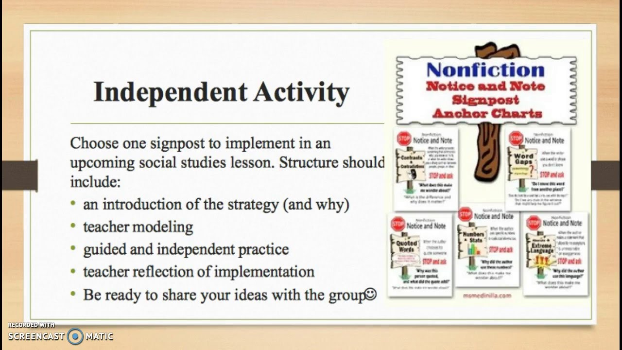 Nonfiction Reading Strategies: A Focus on Signposts - YouTube