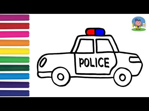 Как нарисовать ПОЛИЦЕЙСКУЮ МАШИНУ / Мультик Раскраска ПОЛИЦЕЙСКАЯ МАШИНА / How To Draw A Police Car