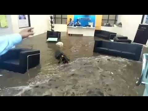 Reception area of NTT Data  Bangalore office flooded during Bangalore Rains