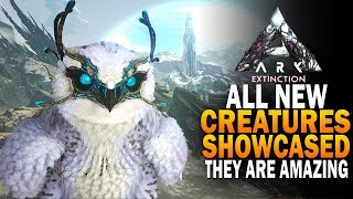 All NEW Ark Extinction Creatures Showcased!  Managarmr, Snowy Owl, Gacha, Gasbag,  Ark Extinction