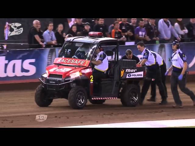 Great fall on Speedway Grand Prix Australia 2015, Melborune. (Hancock, Janowski, Doyle)