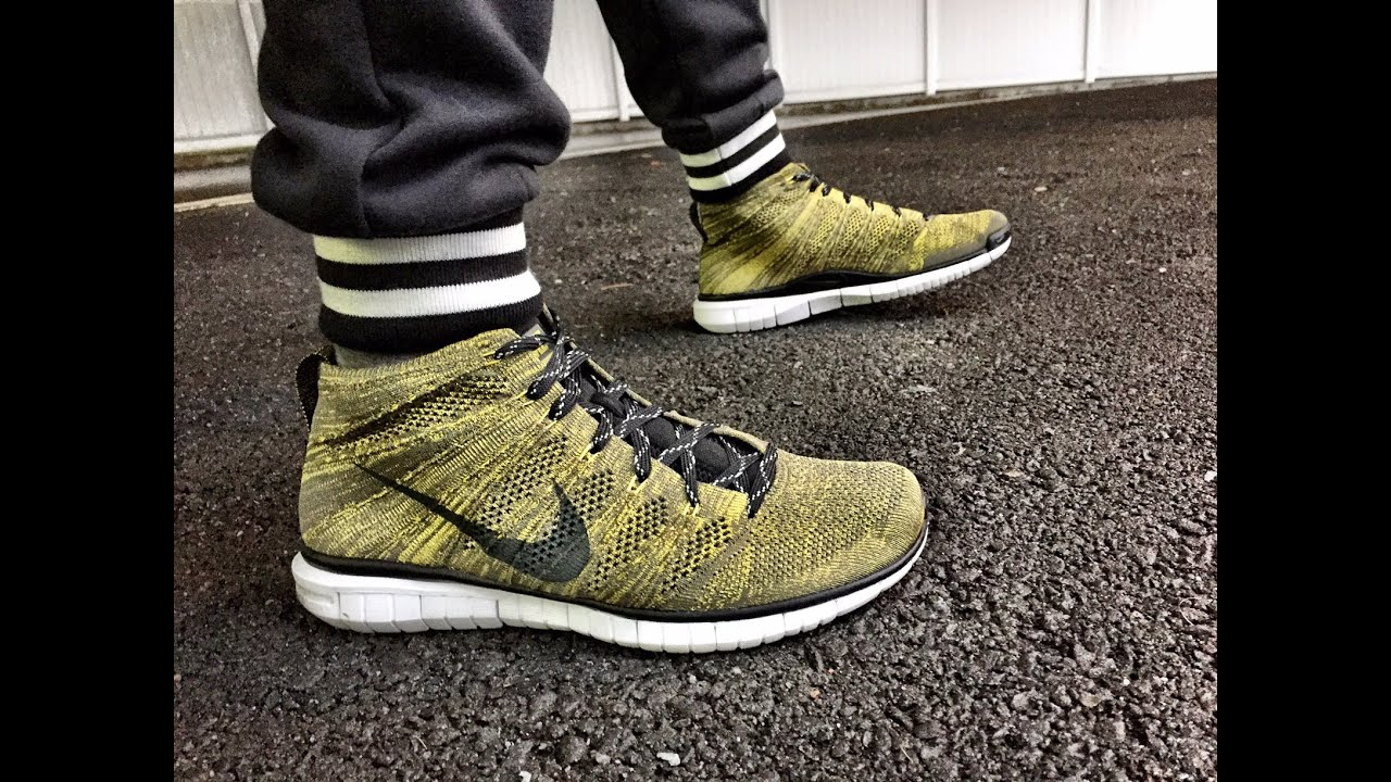 nike free flyknit chukka on feet youtube