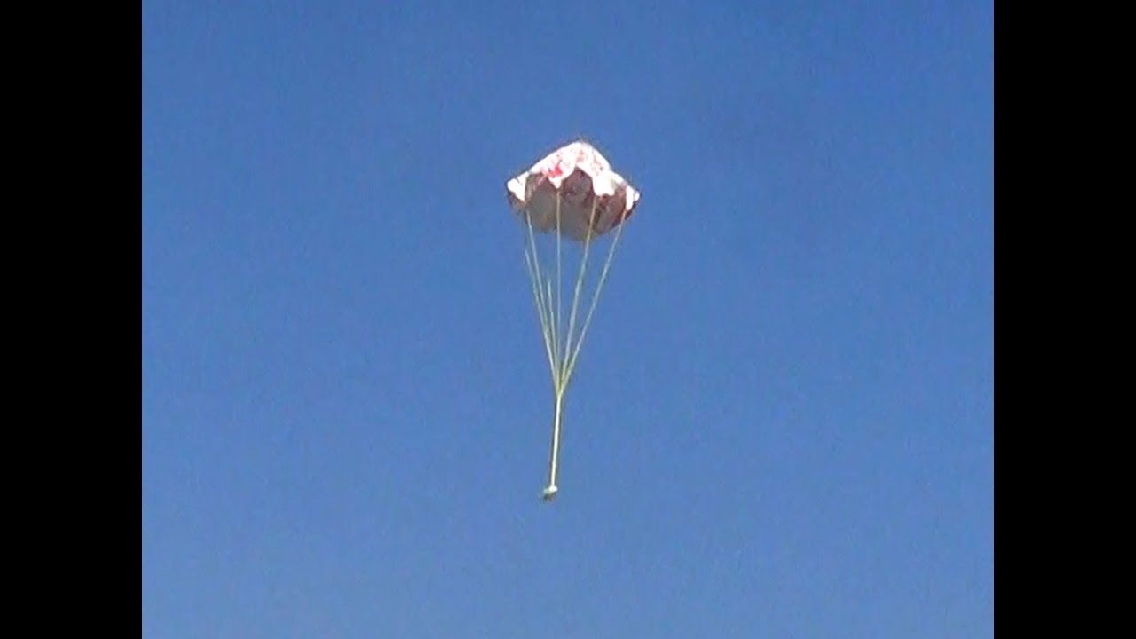 Paper Parachute That Opens Up On The Air Fly And Land