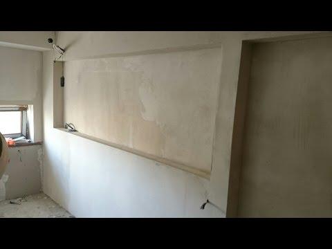 дизайн стен, панель из гипсокартона с горизонтальной нишей. Plasterboard install.