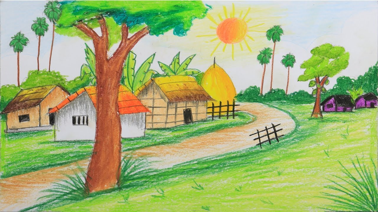How to draw scenery of summer season step by step (Very ...