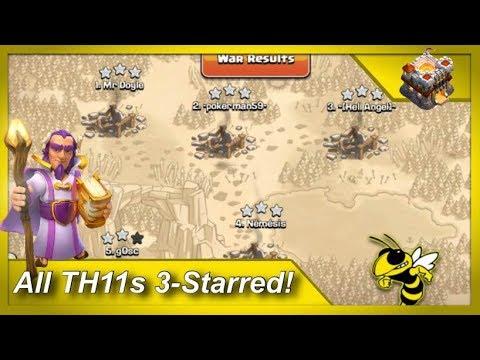 4 TH11 3-Stars in 1 War! - TH11 Mass LaLoon Attacks