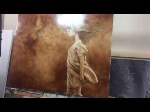 Underpainting sketch in burnt umber