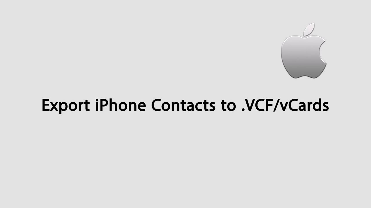 How to Export iPhone Contacts to a VCF/vCards