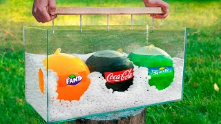 Experiment: Giant Balloons of Coca Cola & Fanta & Sprite VS Mentos
