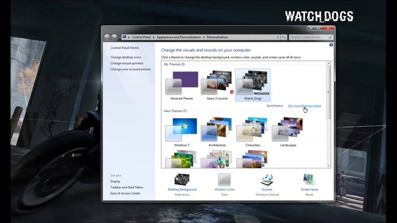 how to set watch dogs theme as desktop background or your favorite theme