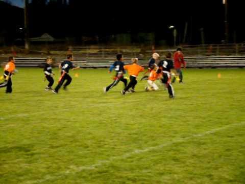 Sheldon makes a nice flag football tackle