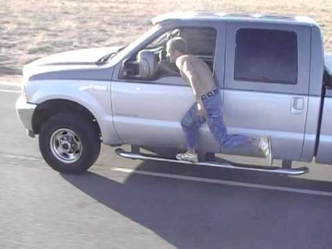 Manny jumping out of his truck at 50 mph