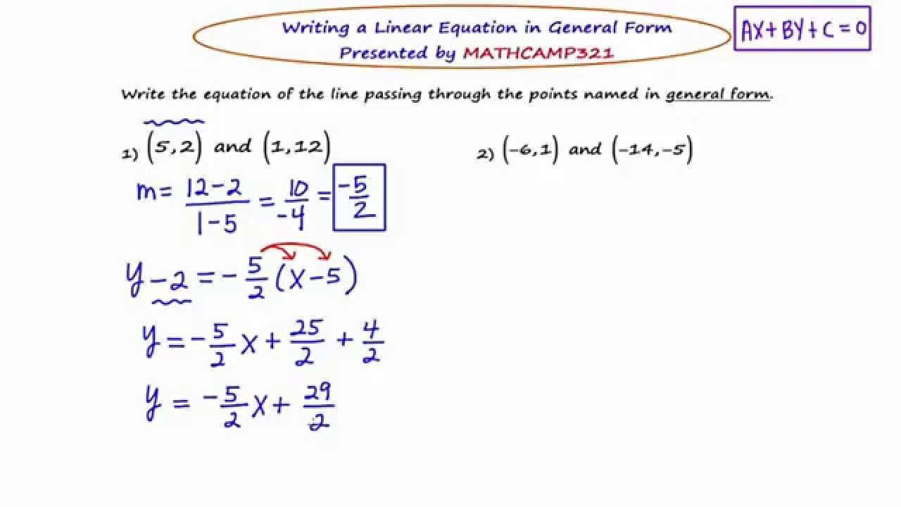 MathCamp321: Algebra 2 - Linear Equations in General Form - YouTube