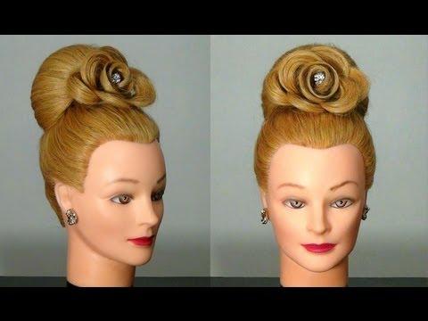 Прическа Бабетта с розой, цветок из волос. Hair made rose.