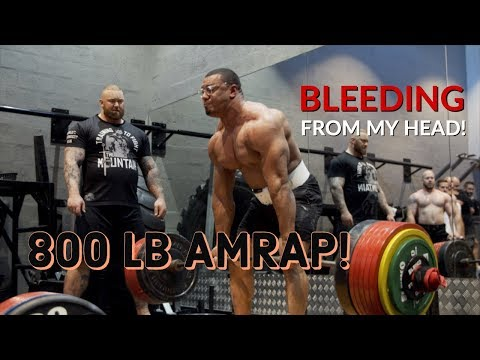 BLEEDING FROM MY HEAD DURING 800LB DEADLIFT AMRAP WITH THOR