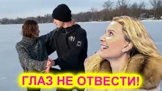 Тутберидзе показала парное катание своей дочери на замерзшем озере