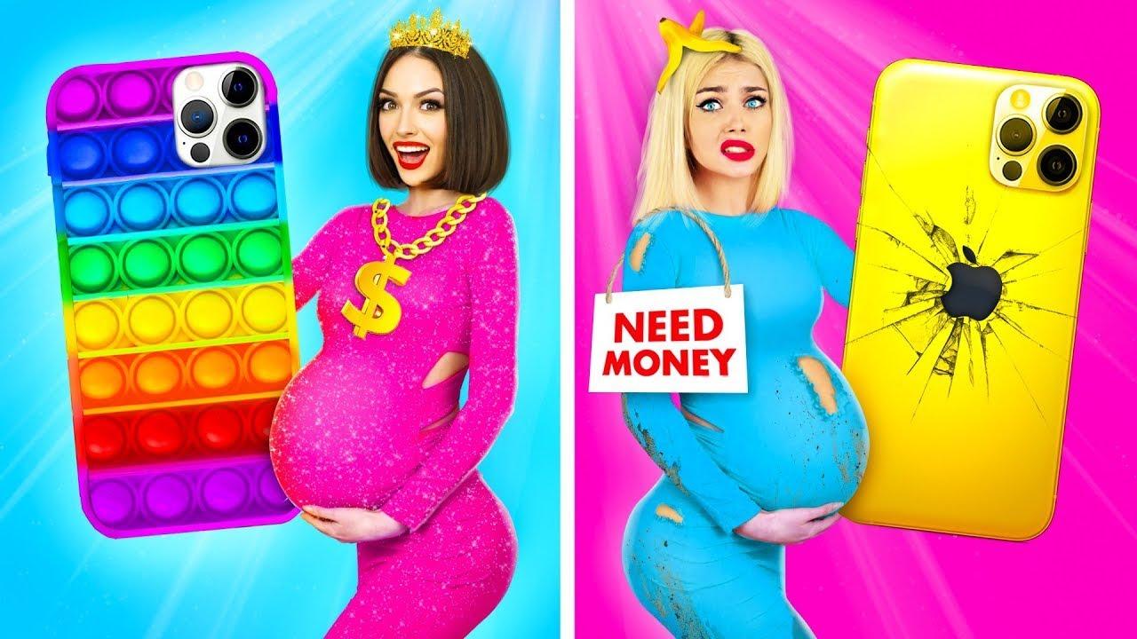 Chica Rica Embarazada VS Pobre Embarazada | Momentos locos de embarazo con chicas de RATATA
