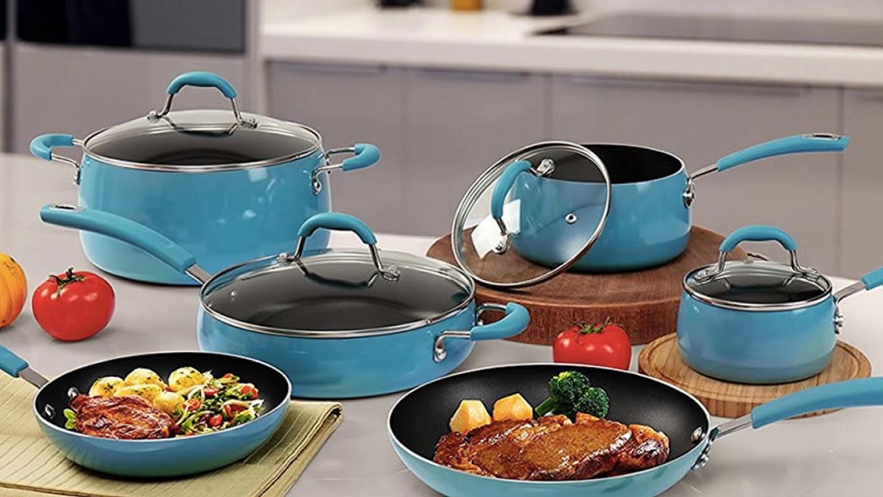 Finnhomy Hard Porcelain Enamel Aluminum 14-Piece Cookware Set Review ...