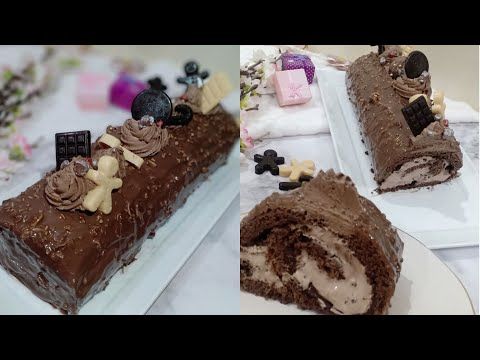 bûche-de-noël-roulée-au-chocolat-glaçage-roché-|بيش-رأس-السنة-رولي-بالشوكولا-كلاصاج-روشي-و-جنواز-سهل