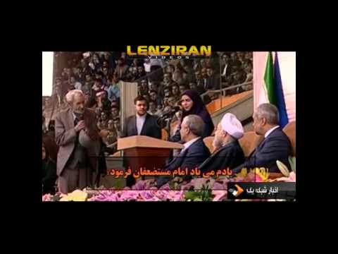 A retired labor talk to Hassan Rouhani during ceremony for honoring labor !