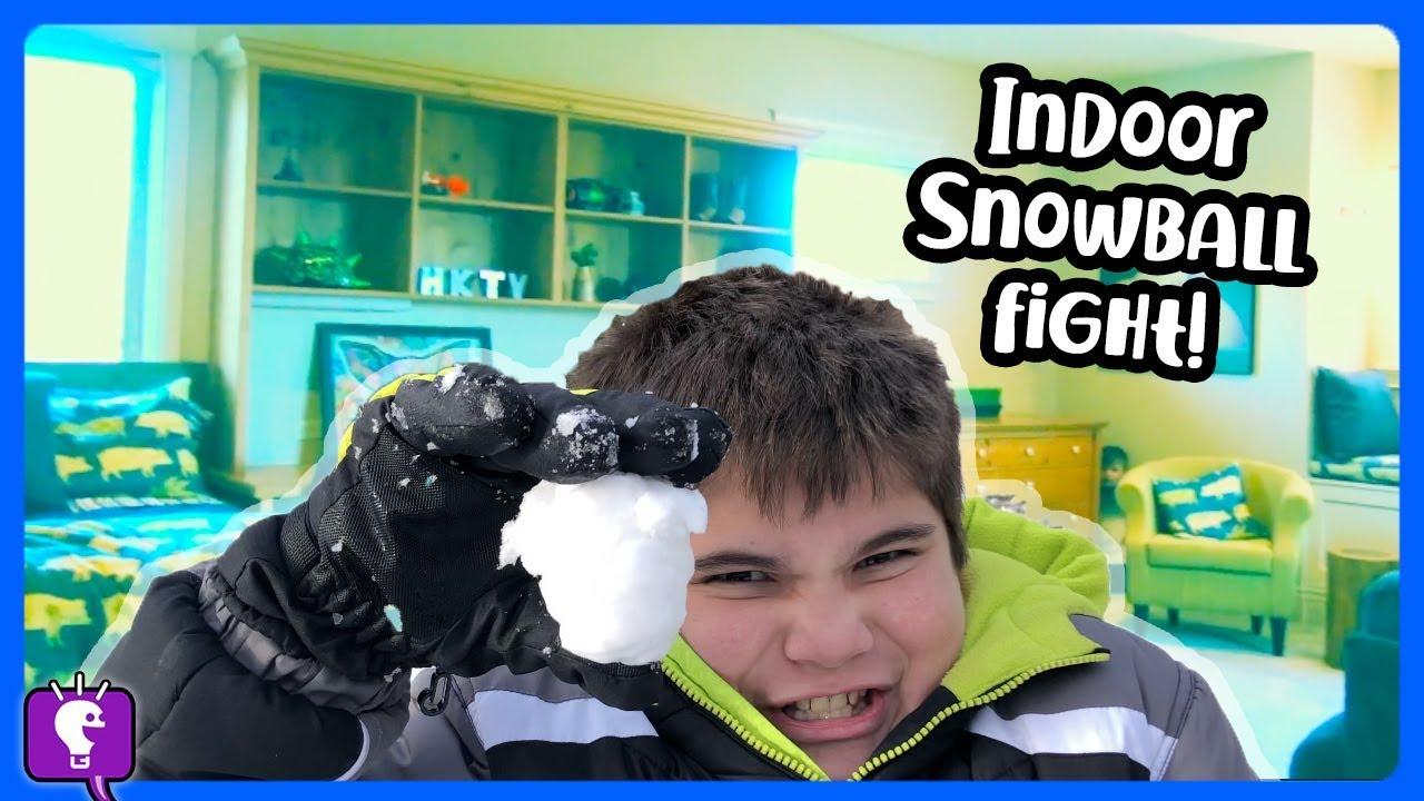 INDOOR SNOWBALLS CHALLENGE! Throwing Snow in HobbyHouse by HobbyKidsTV