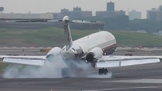 *HEAVY LANDING* American Airlines McDonnell Douglas MD-82 (DC-9-82) [N70425] Landing at LGA