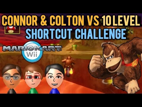 Mario Kart Wii - Connor & Colton vs 10 Level Shortcut Challenge