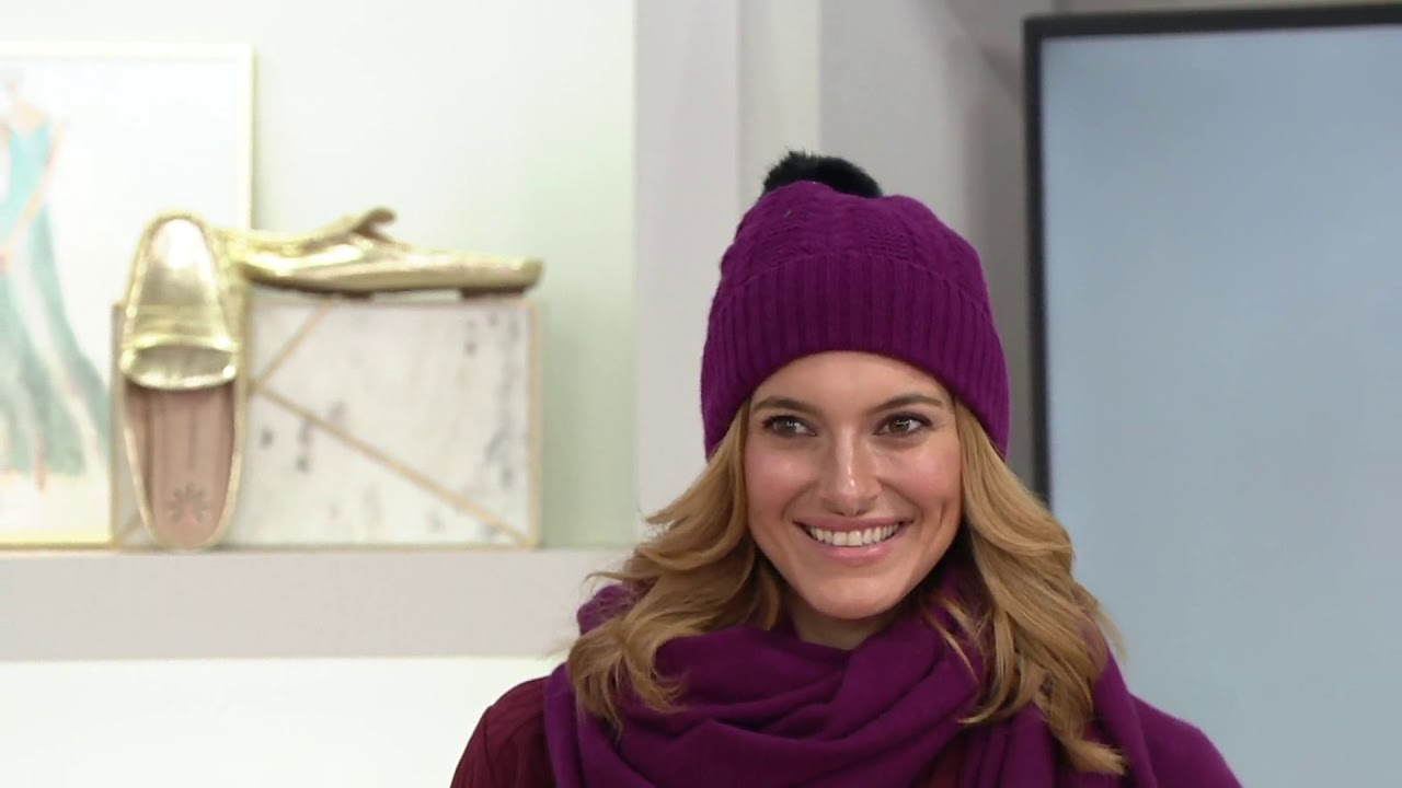 f9d5c36c452 Isaac Mizrahi Live! 2-Ply Cashmere Cable Knit Hat or Gloves on QVC ...