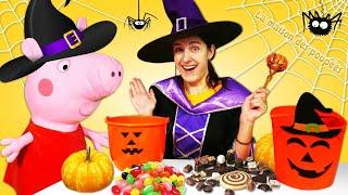 Halloween avec Peppa pig. Cherchons les bonbons. Vidéo de fête pour enfants.