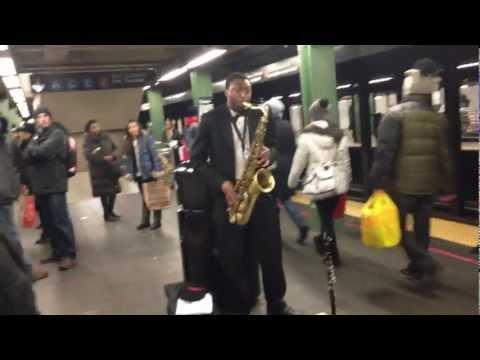 Subway Sax Player Playing Jewish Music