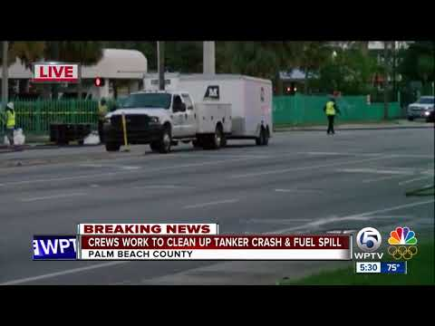 Crews work to clean up tanker crash and fuel spill
