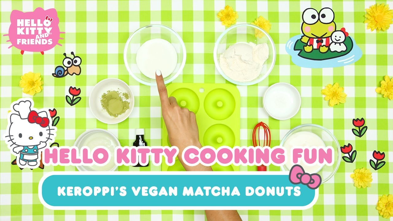 Keroppi's Vegan Matcha Donuts | Hello Kitty Cooking Fun