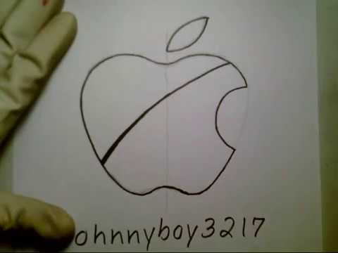 How To Draw Apple Logo Sign Easy Tutorial Step By Step Doodle Sketch
