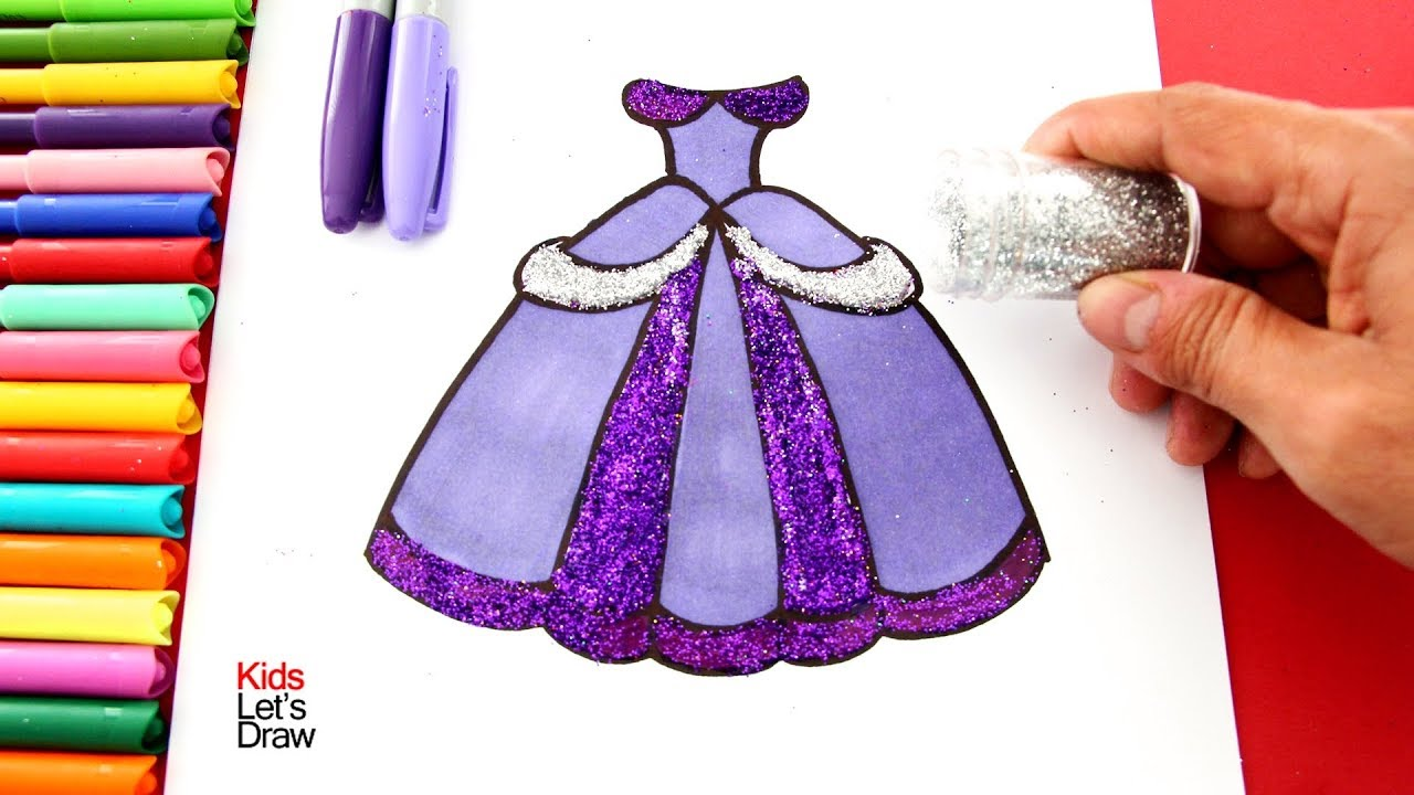 Cómo Dibujar Y Pintar Un Vestido De Princesa Con Brillantina Dibujos De Princesas