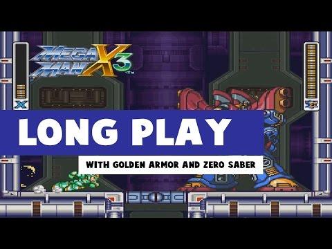 Mega Man X3 Walkthrough  Long Play with Golden Armor and Zero Beam Zaber
