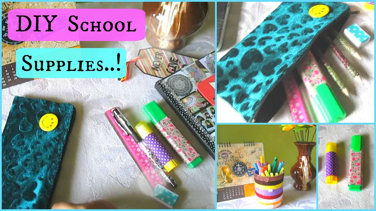 DIY School Supplies.! (Holder, Pouch and custom Supplies ...