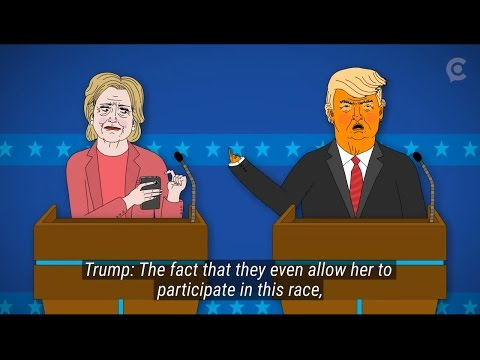 Presidential debate Donald Trump Vs Clinton 2016 circa animation Parody