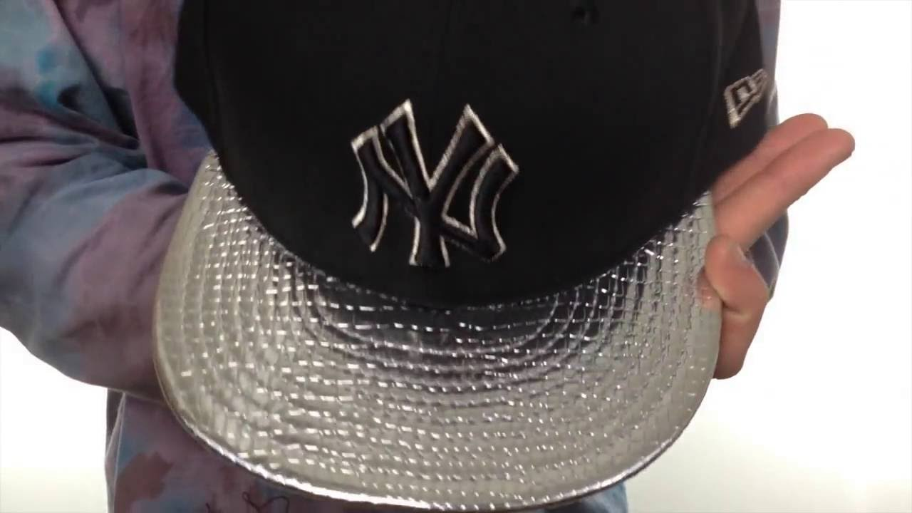 Yankees  METALLIC SLITHER  Black-Silver Fitted Hat by New Era - YouTube e1a1aef0cce