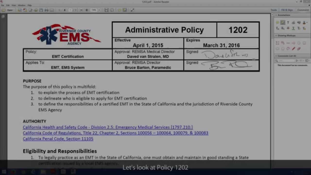 2015 Policy Manual Update 1202 Emt Certification Youtube