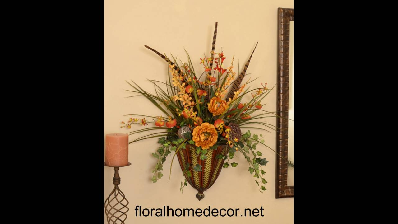Silk Flower Arrangements Wall Sconces