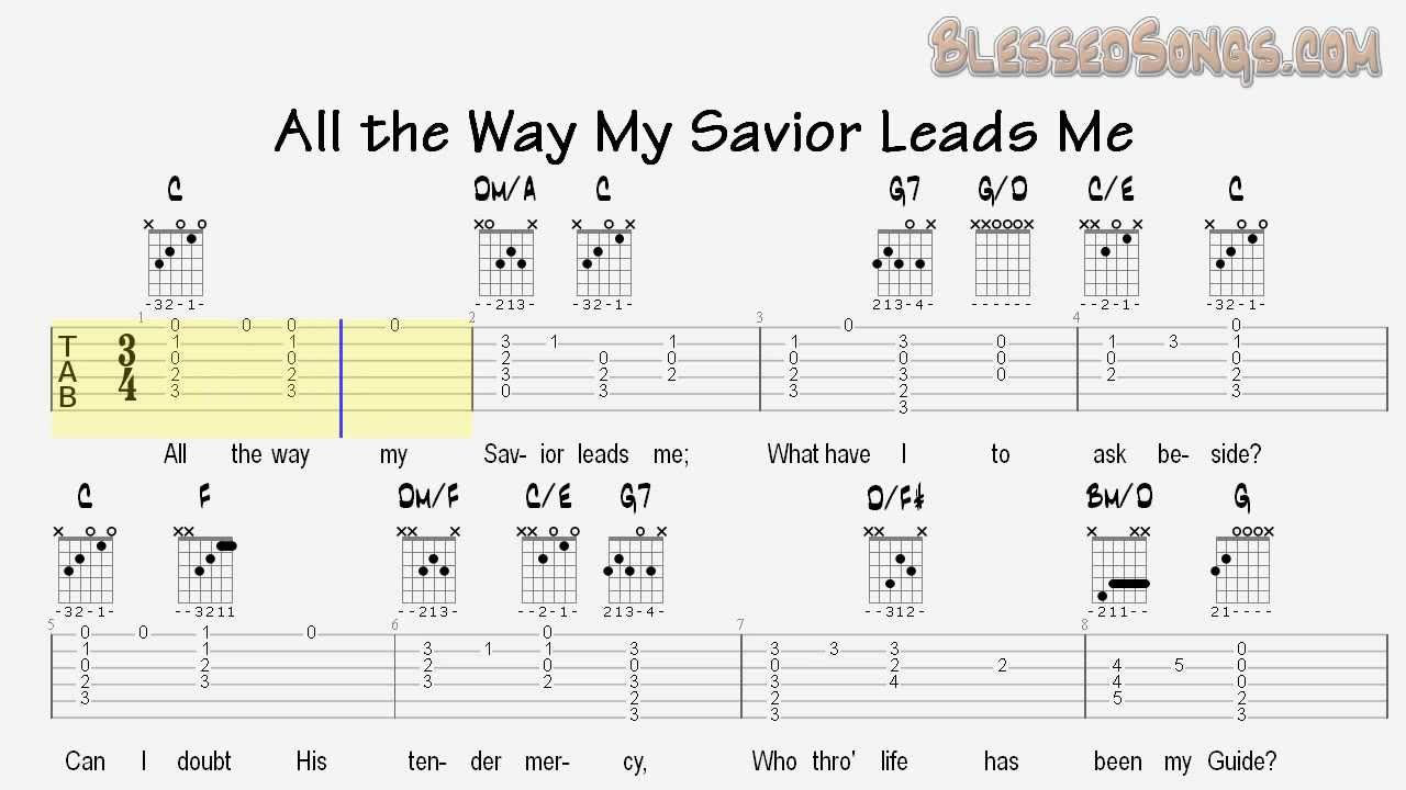 Acoustic Guitar Hymns All The Way My Savior Leads Me Tablature
