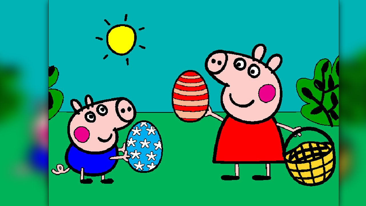 Peppa Pig Coloring Pages for Kids Peppa Pig Coloring Games Peppa Easter Egg Hunt Coloring ...