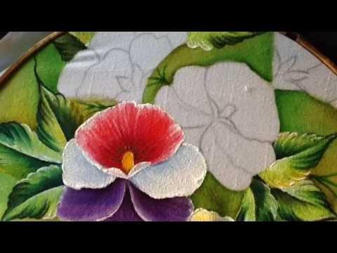 Pintura en tela pensamientos 3 con cony youtube - Flores de telas hechas a mano ...