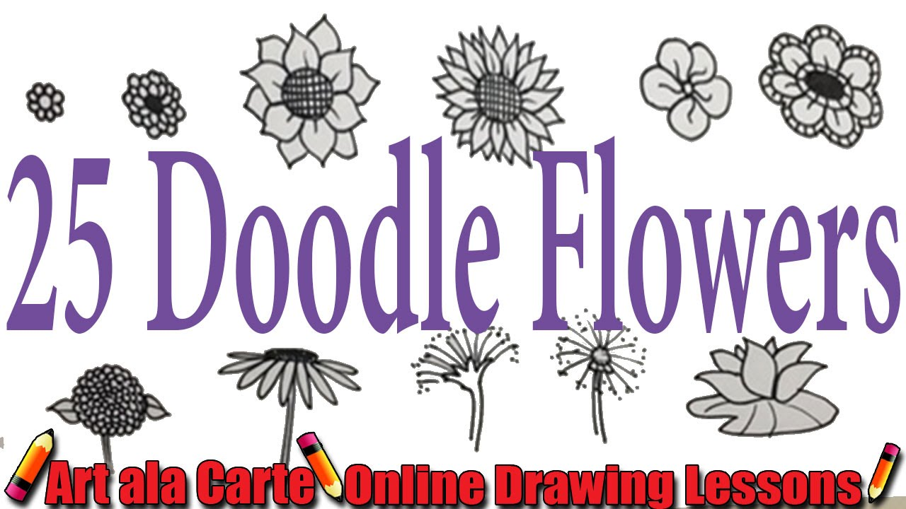 How to draw 25 doodle Flowers