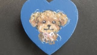 動物編① マグネットに犬の絵を描いていきます。第一回はトイプードルです。