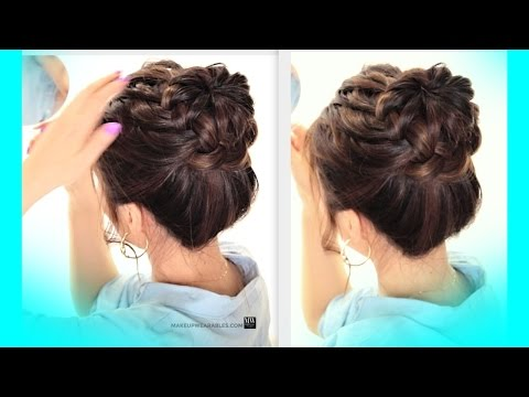 ★starburst-braid-bun-hairstyle-|-cute-school-braids-hairstyles