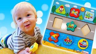 Развивающие игрушки для малышей - Сортер с транспортом и геометрические фигуры. Дада игрушки