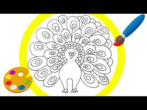 365 ART Challenges DAY3 PEACOCK Drawing Easy Step by Step for Kids Cartoon 🐦
