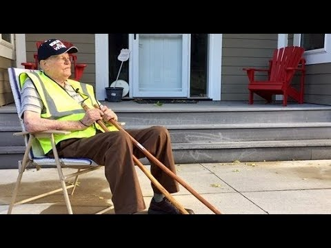 Neighbors leave chairs out for walking WWII veteran